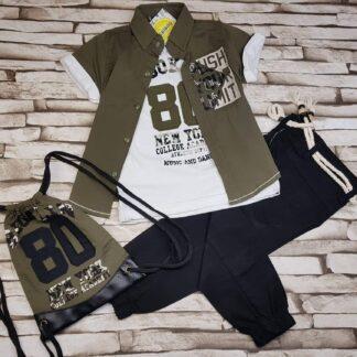 Σετ Πουκάμισο Μπλούζα Παντελόνι με σακίδιο