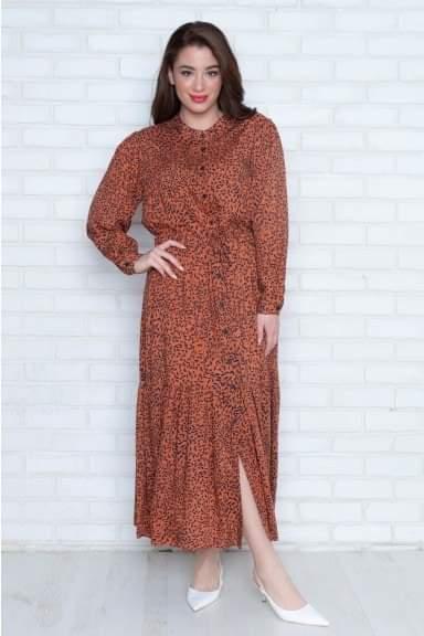 Φόρεμα Kyara εμπριμέ με σούρα στην μέση