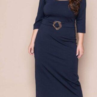 Φόρεμα Kyara Midi μονόχρωμο με ζώνη και μανίκ