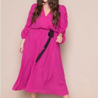 Φόρεμα Kyara κρουαζέ μονόχρωμο ροζ-φουξ