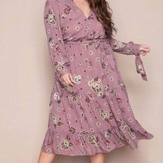 Φορέμα Kyara Floral κρουαζέ χρώματος ροζ