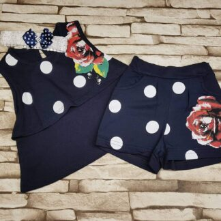 Σετ Μπλουζάκι σορτσάκι με τριαντάφυλλο