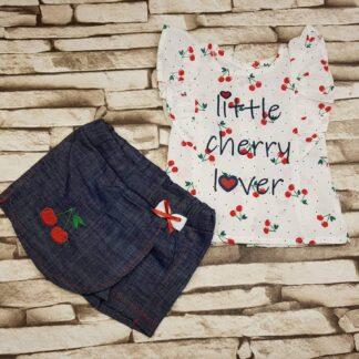 Σετ Μπλουζάκι Little Cherry Lover με τζιν σρτ