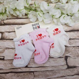 Κάλτσες 3άδα I Love Mom & Dad