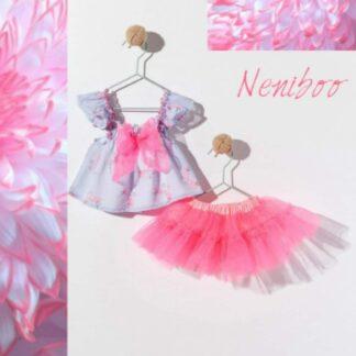 Φορεματάκι Φλαμίγκο Φουφούλα  Με Φιόγκο