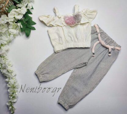 Σετ  Μπλουζάκι  Παντελόνι Τούλινα Λουλουδάκια