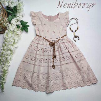 Φόρεμα Ροζ Με Κεντητά Σχέδια Και Ζώνη