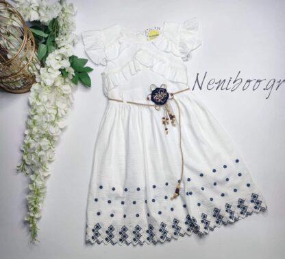 Φόρεμα Λευκό Με Κεντητά Σχέδια Και Καρφίτσα