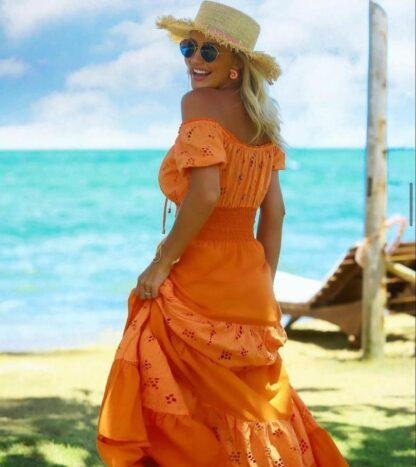 Φόρεμα Πορτοκαλί Με Κηπούρ Λεπτομέρειες