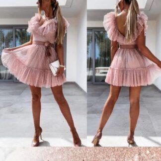 Φόρεμα Mini Με Τούλι Ροζ