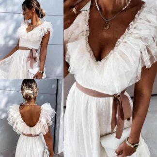 Φόρεμα Mini Με Τούλι Λευκό