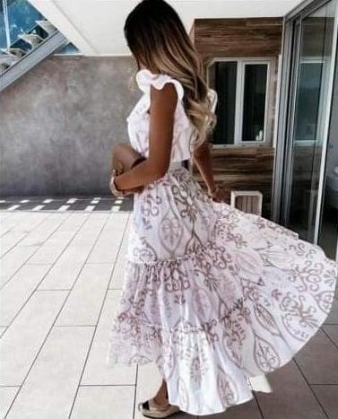 Φόρεμα Maxi Λευκό Με Βολάν