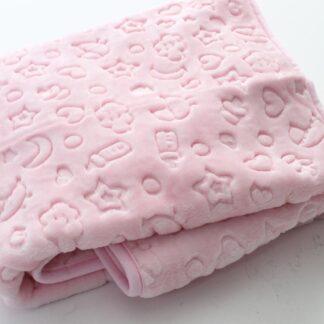 Κουβέρτα Βελουτέ Ροζ Με Διάφορα Σχεδιάκια