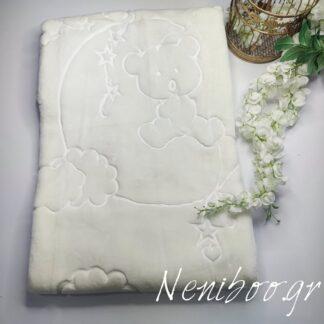 Κουβέρτα Βελουτέ Λευκή Με Πάντα & Ελεφαντ