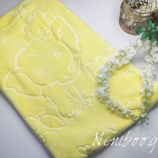 Κουβέρτα Βελουτέ Κίτρινη Με Πάντα & Ελεφα