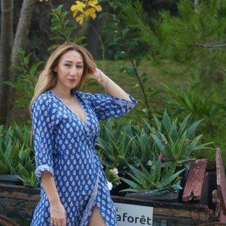 Φόρεμα Φάκελος Μπλε Kalimera Με Tropical Prin