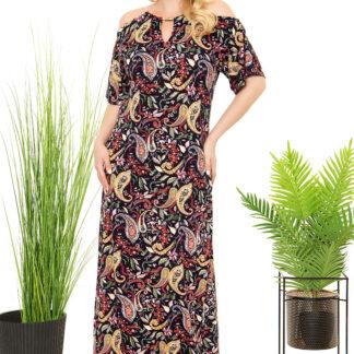 Φόρεμα Silky Εμπριμέ Maxi Με Κορδόνι