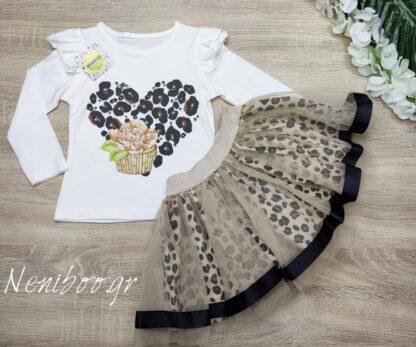 Σετ Μπλούζα Με Πέρλες & Φούστα Λεοπάρ Τού