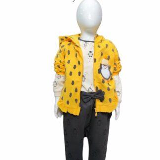 Σετ Ζακέτα Κίτρινο Μπλούζα Παντελόνι Με Πιγκο