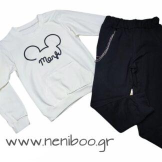 Σετ Φόρμες Μπλούζα Λευκή Mouse Παντελόνι