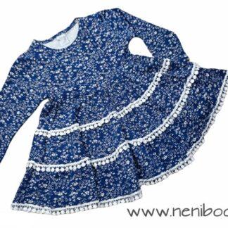 Φορεματάκι Μπλε-Φλοράλ Με Δανδελίτσα