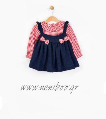 Σετ Μπλουζάκι Κόκκινο-Καρό Φορεματάκι Μπλε