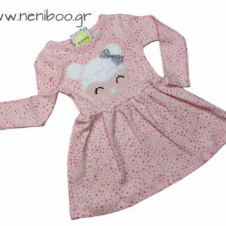 Φορεματάκι Ροζ Πουά-Καρδούλες Στρασένιος Φιόγ