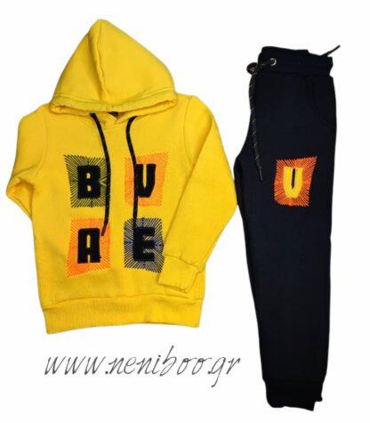 Σετ Φόρμες Φούτερ Τρίκλωνες Μπλούζα Κίτρινη B