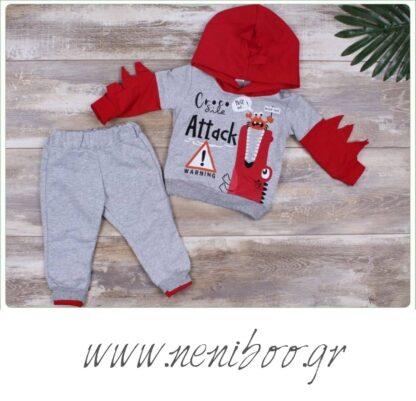 Σετ Φόρμες Μπλούζα Γκρι-Κόκκινο Croco Παντελο