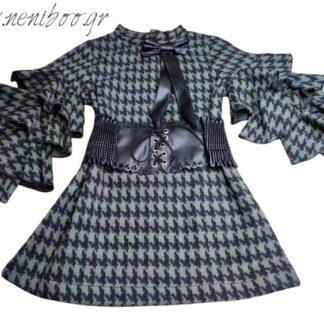 Φορεματάκι Χακί Πτι-Καρό Με Ζώνη