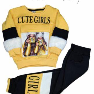Σετ Φόρμες Μπλούζα Κίτρινη Cute Girls Παντελό
