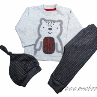 Σετ Φόρμες Μπλούζα Γκρι Bear Hugs Ριγέ Παντελ