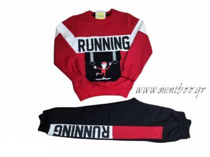 Σετ Φόρμες Μπλούζα Κόκκινη Running Παντελόνι