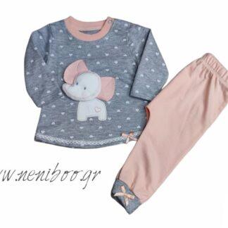 Σετ Φόρμες Μπλούζα Γκρι 3D Ελεφαντάκι Ροζ Παν