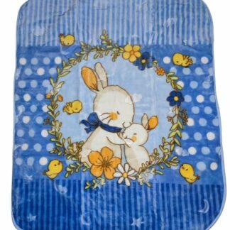 Κουβέρτα Βελουτέ Μπλε Με Κουνελάκια