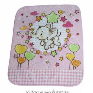 Κουβέρτα Βελουτέ Ροζ Με Ελεφαντάκι