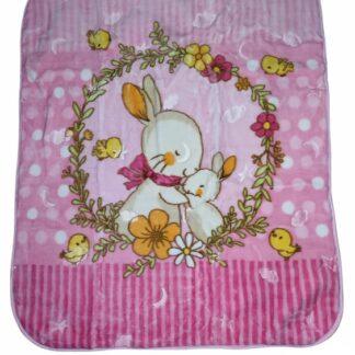 Κουβέρτα Βελουτέ Ροζ Με Κουνελάκια