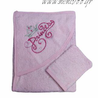 Σετ Μπάνιου Πετσέτα Ροζ Princess Γάντι Μπάνιο