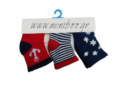 Κάλτσες New Born 3άδα Άγκυρα & Αστεράκια