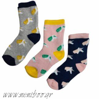 Κάλτσες 3άδα 3/4 χρονών Γκρι-Ροζ-Μπλε Μονόκαι