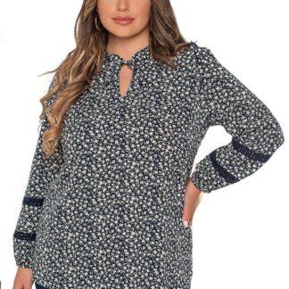 Silky Collection μπλούζα σκούρο μπλε Floral
