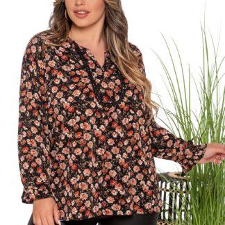 Silky Collection μπλούζα μαύρη Floral