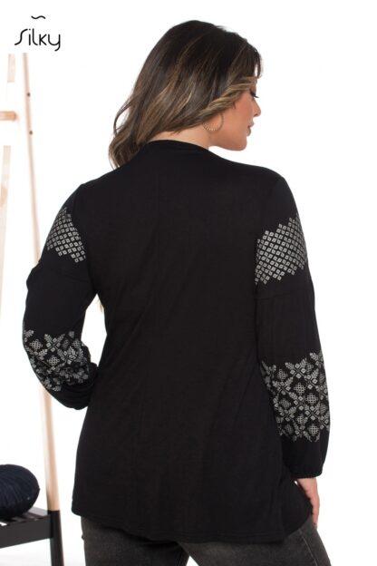 Silky Collection Μπλούζα Μαύρη Γκρι-Ασημένιες